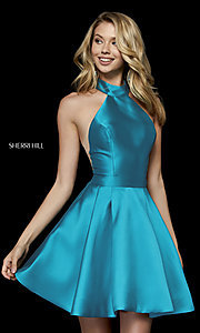 Image of short high-neck fit-and-flare homecoming dress. Style: SH-52181 Back Image