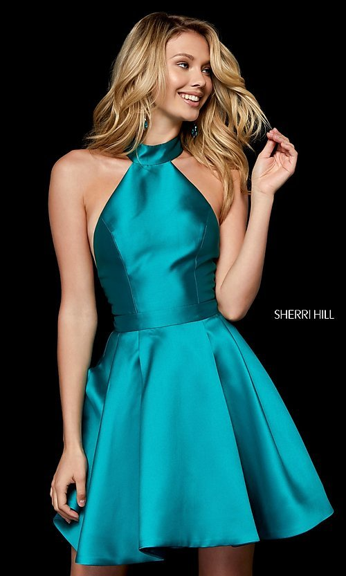 Image of short high-neck fit-and-flare homecoming dress. Style: SH-52181 Detail Image 1