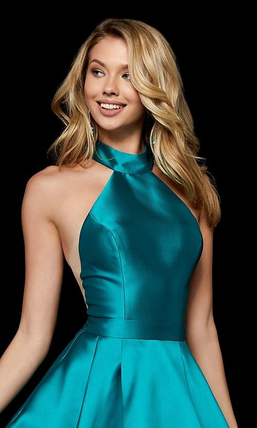 Image of short high-neck fit-and-flare homecoming dress. Style: SH-52181 Detail Image 2