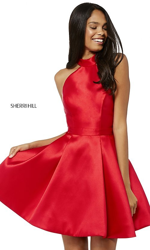 Image of short high-neck fit-and-flare homecoming dress. Style: SH-52181 Detail Image 3