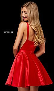 Image of Sherri Hill short fit-and-flare homecoming dress. Style: SH-52293 Back Image