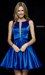Image of Sherri Hill short fit-and-flare homecoming dress. Style: SH-52293 Front Image