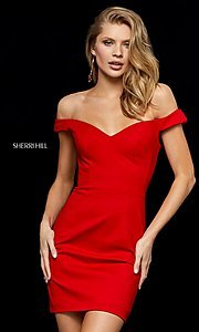 Image of off-shoulder short homecoming dress by Sherri Hill.  Style: SH-52297 Detail Image 1