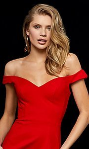 Image of off-shoulder short homecoming dress by Sherri Hill.  Style: SH-52297 Detail Image 3