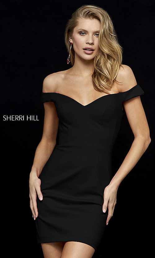 Image of off-shoulder short homecoming dress by Sherri Hill.  Style: SH-52297 Front Image