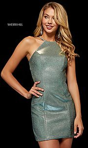 Image of short high-neck metallic Sherri Hill hoco dress. Style: SH-52357 Detail Image 1