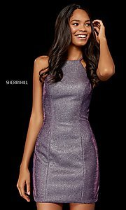 Image of short high-neck metallic Sherri Hill hoco dress. Style: SH-52357 Detail Image 3