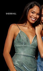 Image of short metallic Sherri Hill homecoming dress. Style: SH-52354 Detail Image 3