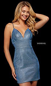 Image of short metallic Sherri Hill homecoming dress. Style: SH-52354 Detail Image 2