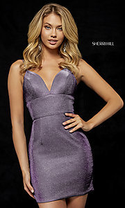 Image of short metallic Sherri Hill homecoming dress. Style: SH-52354 Detail Image 1