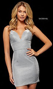 Image of short metallic Sherri Hill homecoming dress. Style: SH-52354 Front Image