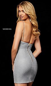Image of short metallic Sherri Hill homecoming dress. Style: SH-52354 Back Image