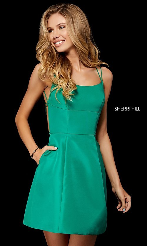 Image of short open-back homecoming dress by Sherri Hill. Style: SH-52154 Detail Image 3