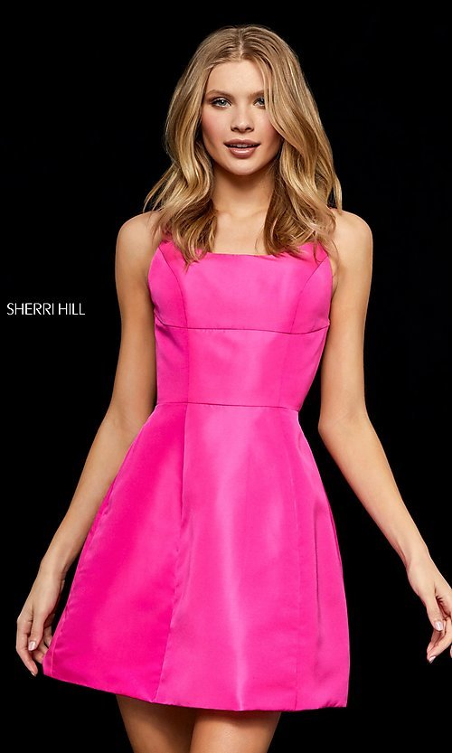 Image of short open-back homecoming dress by Sherri Hill. Style: SH-52154 Detail Image 2