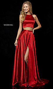Image of long high-neck Sherri Hill two-piece prom dress. Style: SH-52230 Front Image