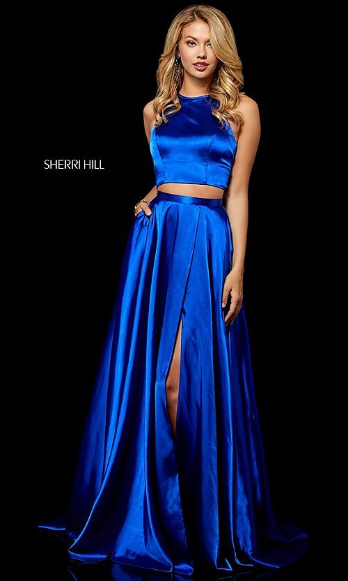 d022f6ab20d Image of long high-neck Sherri Hill two-piece prom dress. Style