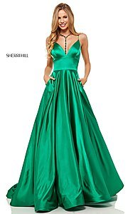 Image of long a-line Sherri Hill v-neck prom dress. Style: SH-52195 Detail Image 1