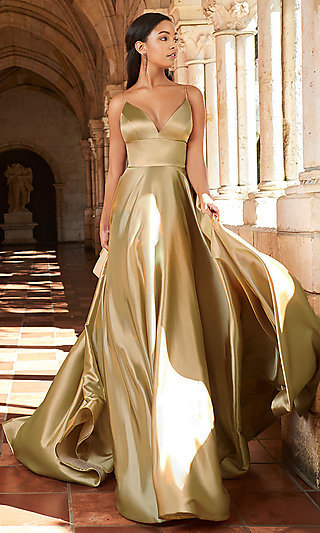 Long A-Line V-Neck Prom Dress