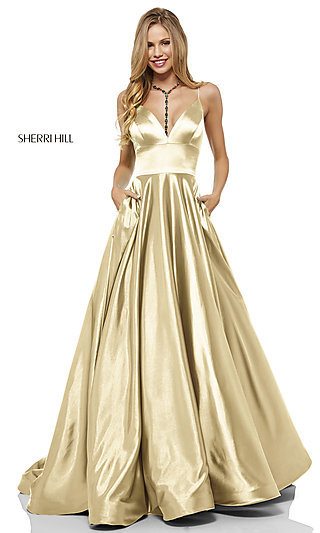 Long A-Line Sherri Hill V-Neck Prom Dress