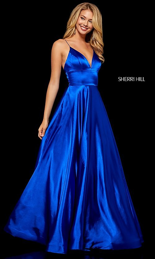 Image of long a-line Sherri Hill v-neck prom dress. Style: SH-52195 Detail Image 2