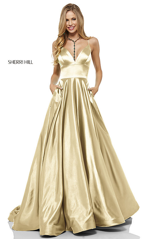 Image of long a-line Sherri Hill v-neck prom dress. Style: SH-52195 Front Image