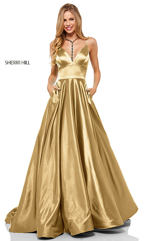 Image of long a-line Sherri Hill v-neck prom dress. Style: SH-52195 Detail Image 4