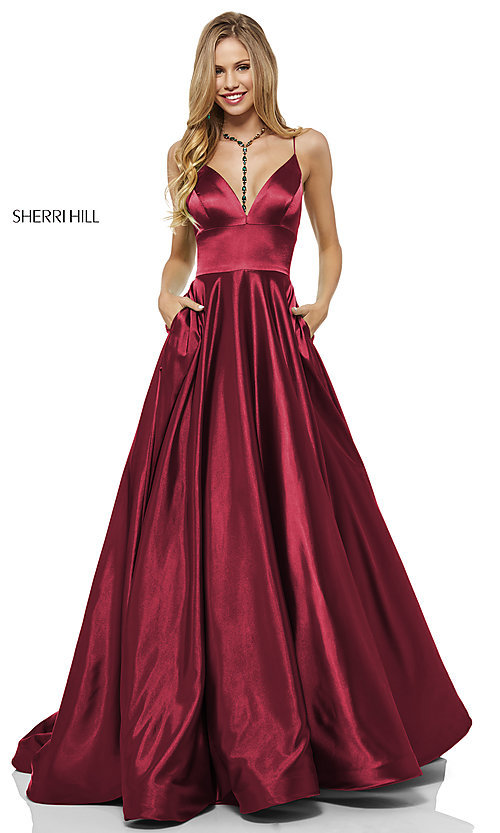 Image of long a-line Sherri Hill v-neck prom dress. Style: SH-52195 Detail Image 3