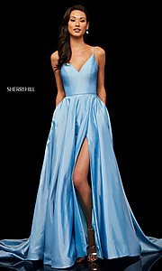 Image of v-neck long Sherri Hill prom dress. Style: SH-52245 Detail Image 4