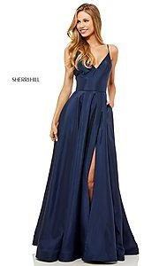 Image of v-neck long Sherri Hill prom dress. Style: SH-52245 Detail Image 2