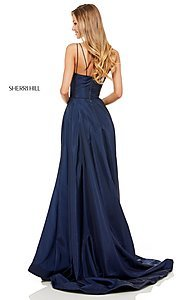 Image of v-neck long Sherri Hill prom dress. Style: SH-52245 Detail Image 3