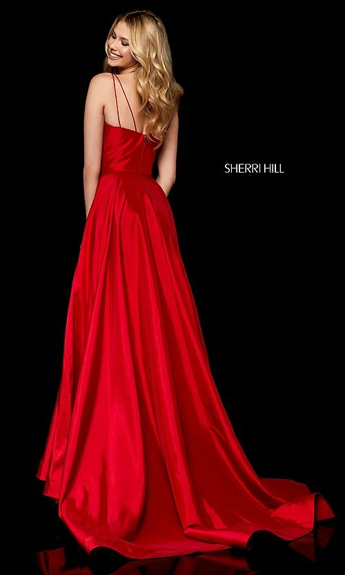 Image of v-neck long Sherri Hill prom dress. Style: SH-52245 Back Image