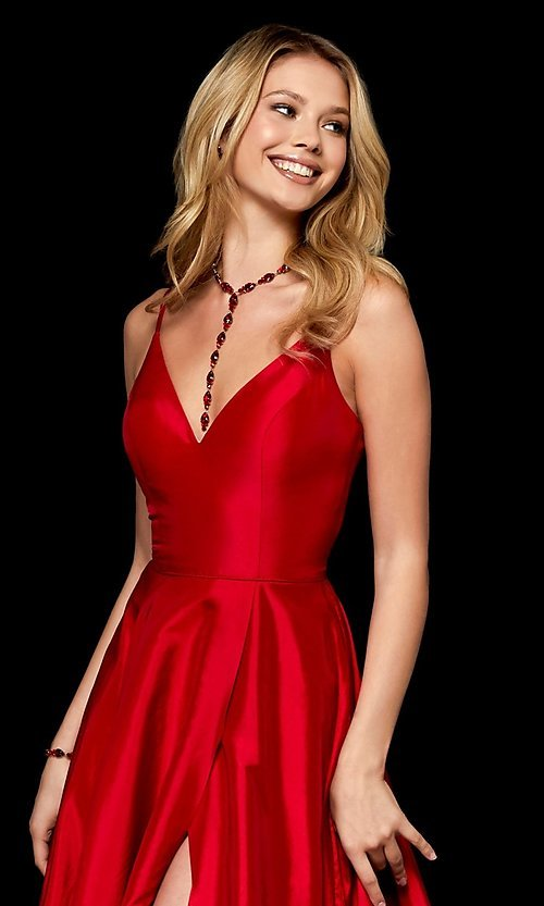 Image of v-neck long Sherri Hill prom dress. Style: SH-52245 Detail Image 1