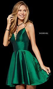 Image of low-v-neck short homecoming dress by Sherri Hill. Style: SH-52155 Detail Image 2