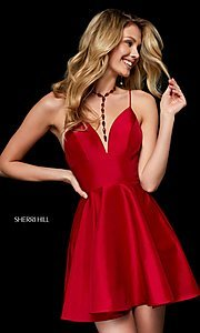 Image of low-v-neck short homecoming dress by Sherri Hill. Style: SH-52155 Front Image