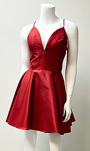 Image of low-v-neck short fit-and-flare homecoming dress. Style: SH-52155 Front Image