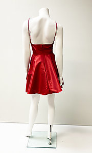 Image of low-v-neck short fit-and-flare homecoming dress. Style: SH-52155 Back Image