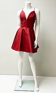 Image of low-v-neck short fit-and-flare homecoming dress. Style: SH-52155 Detail Image 1