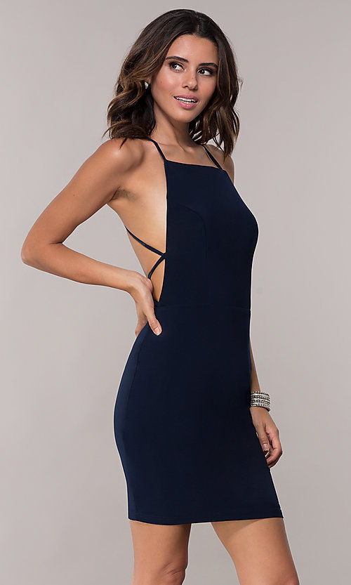Image of open-back short high-neck homecoming dress. Style: AL-4002 Back Image