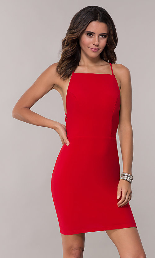 Image of open-back short high-neck homecoming dress. Style: AL-4002 Detail Image 1