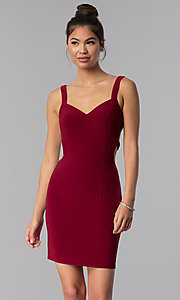 Image of short caged-open-back homecoming dress by Alyce. Style: AL-4003 Front Image