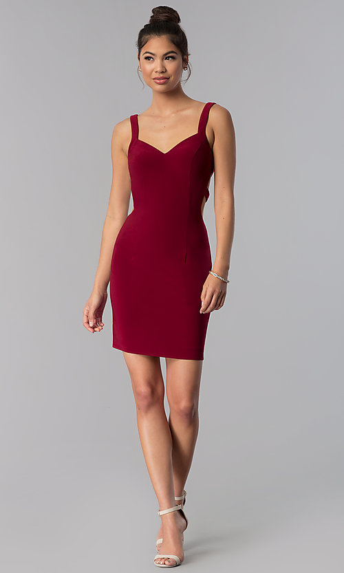 Image of short caged-open-back homecoming dress by Alyce. Style: AL-4003 Detail Image 2
