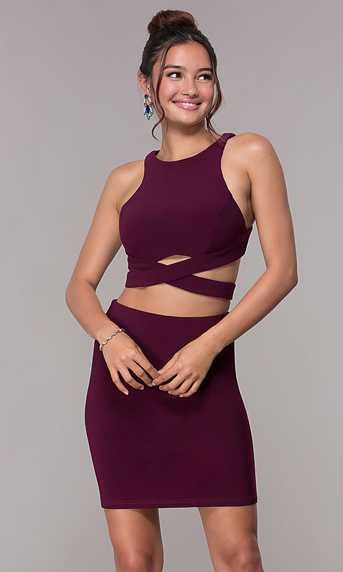 Image of short Alyce two-piece high-neck homecoming dress. Style: AL-4006 Detail Image 3