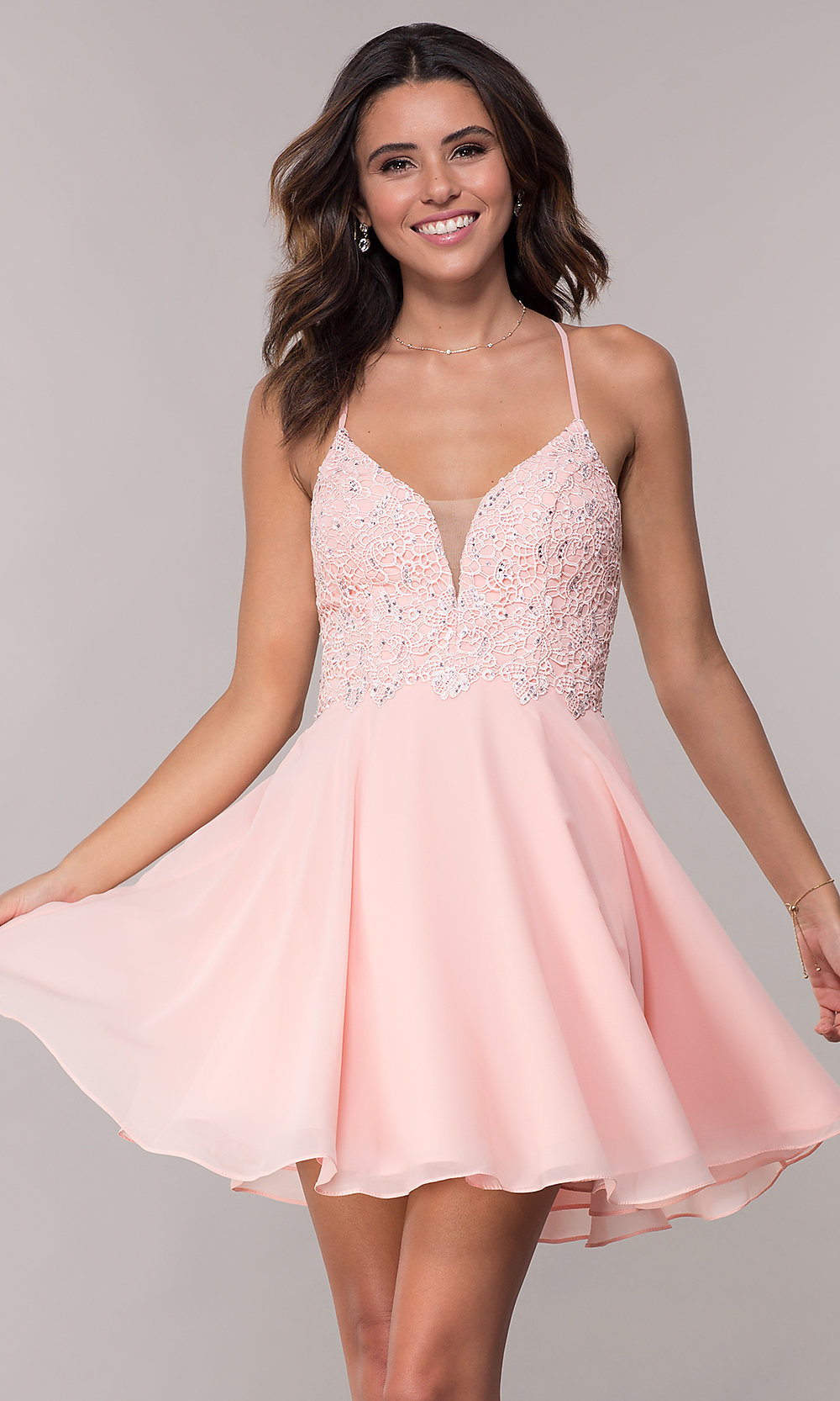 4c8afce1b65 Image of open-back short chiffon Alyce homecoming party dress. Style  AL-.  Tap to expand