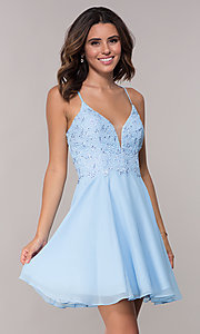 Image of open-back short chiffon Alyce homecoming party dress. Style: AL-4049 Front Image