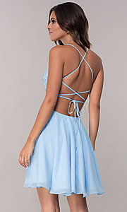 Image of open-back short chiffon Alyce homecoming party dress. Style: AL-4049 Back Image