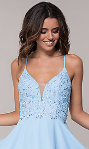 Image of open-back short chiffon Alyce homecoming party dress. Style: AL-4049 Detail Image 1