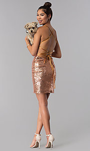 Image of short sequin Alyce homecoming dress in rose gold. Style: AL-4057 Detail Image 3