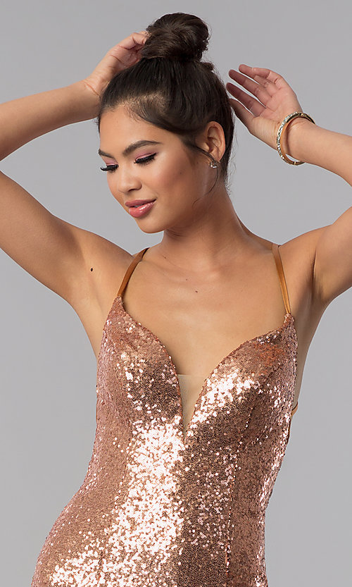 Image of short sequin Alyce homecoming dress in rose gold. Style: AL-4057 Detail Image 2