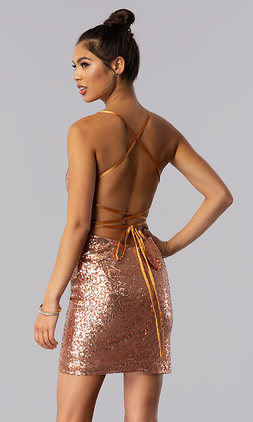 Image of short sequin Alyce homecoming dress in rose gold. Style: AL-4057 Front Image