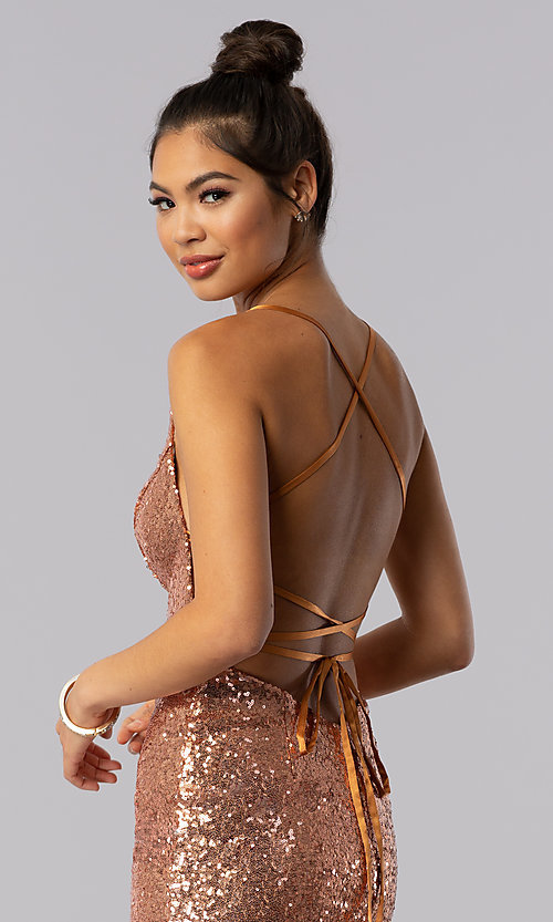 Image of short sequin Alyce homecoming dress in rose gold. Style: AL-4057 Detail Image 1